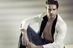 Handsome man wearing stylish jacket Stock Photos
