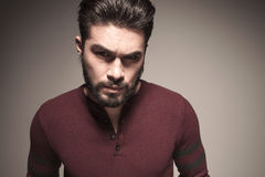 Handsome man wearing a sweater Stock Images