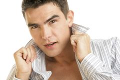 Handsome man wearing unbuttoned shirt. Young handsome man wearing unbuttoned shirt Royalty Free Stock Photo