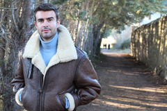 Handsome man wearing warm clothing with copy space Royalty Free Stock Image