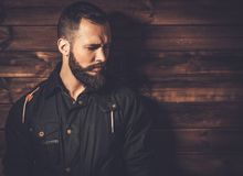 Handsome man wearing waxed canvas jacket Stock Image