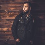 Handsome man wearing waxed canvas jacket Royalty Free Stock Photos