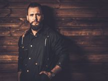 Handsome man wearing waxed canvas jacket Royalty Free Stock Images