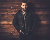 Handsome man wearing waxed canvas jacket Royalty Free Stock Photo