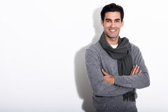 Handsome man wearing winter clothes on white background Royalty Free Stock Photography