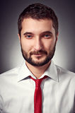 Handsome man in white shirt and red necktie Stock Images