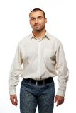Handsome man in white shirt Stock Photos