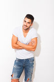 Handsome man in white tshirt Royalty Free Stock Photography