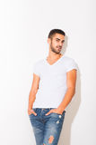 Handsome man in white tshirt Stock Image