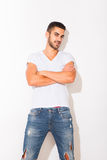 Handsome man in white tshirt Stock Images