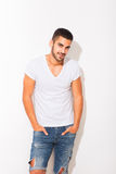 Handsome man in white tshirt Stock Photos