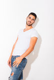 Handsome man in white tshirt Royalty Free Stock Image