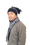 Handsome man in winter clothes royalty free stock photos