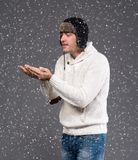 Handsome man in winter hat Royalty Free Stock Image