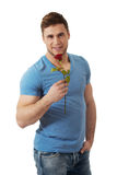 Handsome Man With Red Rose. Royalty Free Stock Photo