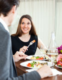 Handsome man and woman having romantic dinner Stock Photo