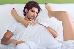 Handsome man and woman legs Royalty Free Stock Images