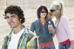 Handsome Man With Women Gossiping Stock Photos