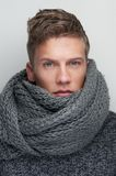 Handsome Man with Wool Scarf Royalty Free Stock Photography
