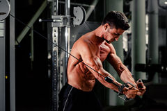 Handsome man work out in gym Stock Images