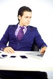 Handsome man working hard Stock Photography