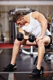 Handsome man working with heavy dumbbells in the gym Stock Photo
