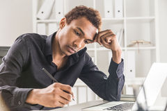 Handsome man working on project Stock Photography