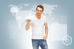 Handsome man working with touch screen Royalty Free Stock Image