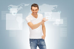 Handsome man working with touch screen Royalty Free Stock Images