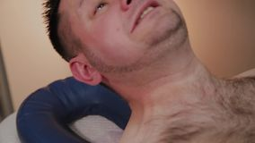Handsome man writhes in pain. Handsome man writhes in pain stock video