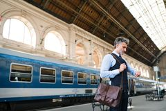 Mature businessman on a train station. Stock Image