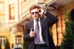 Handsome mature businessman outdoor Royalty Free Stock Photography