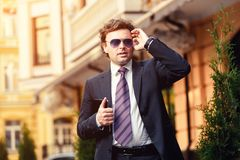 Handsome mature businessman outdoor Stock Images