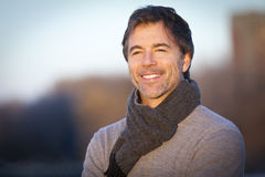 Handsome Mature Happy Man Smiling At The Camera.Outside Royalty Free Stock Images