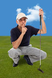 Handsome mature male golfer thinking Stock Photos
