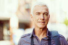 Handsome mature man outdoors Stock Images