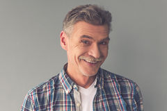 Handsome mature man. Portrait of handsome mature man in casual wear looking at camera and smiling, on gray background royalty free stock images