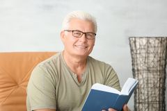 Handsome mature man reading book. At home Stock Photo