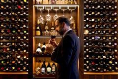 Handsome mature man tasting red wine. Handsome mature man tasting glass of red wine royalty free stock photos
