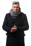 Handsome mature man wearing coat. Posing at studio. Seasonal fashion Stock Photo