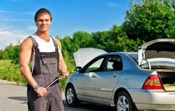 Handsome mechanic Stock Image