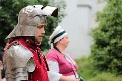 Handsome medieval soldier stock photo