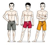 Handsome men group standing wearing beach shorts. Vector differe. Nt people characters set Stock Image