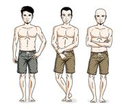 Handsome men group standing wearing beach shorts. Vector differe. Nt people characters set. Lifestyle theme male characters Royalty Free Stock Photos