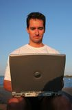Handsome men with laptop Royalty Free Stock Photography