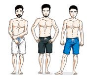 Handsome men posing in colorful beach shorts. Vector characters Stock Photo
