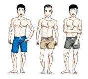 Handsome men standing wearing beach shorts. Vector people illust Stock Photo