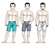 Handsome men standing wearing beach shorts. Vector people illust Royalty Free Stock Photography