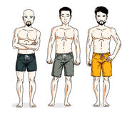 Handsome men standing wearing beach shorts. Vector people illust Stock Images