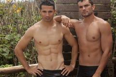 Handsome Men Taking Shower Stock Images